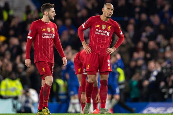 LONDON, ENGLAND - Tuesday, March 3, 2020: Liverpool's Adam Lallana (L)and Fabio Henrique Tavares 'Fabinho' look dejected as Chelsea score the second goal during the FA Cup 5th Round match between Chelsea FC and Liverpool FC at Stamford Bridge. (Pic by David Rawcliffe/Propaganda)