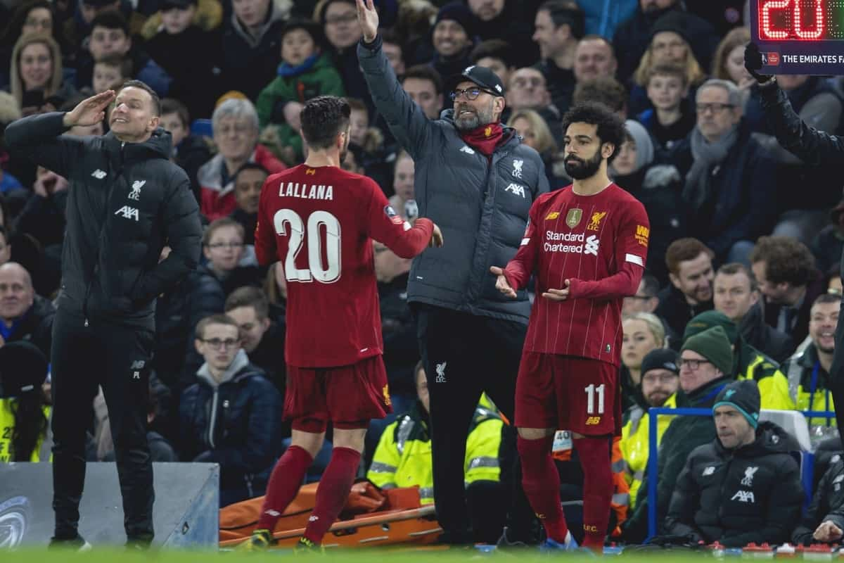 LONDON, ENGLAND - Tuesday, March 3, 2020: Liverpool's Mohamed Salah replaces Adam Lallana during the FA Cup 5th Round match between Chelsea FC and Liverpool FC at Stamford Bridge. (Pic by David Rawcliffe/Propaganda)