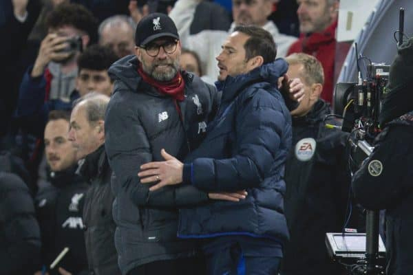 LONDON, ENGLAND - Tuesday, March 3, 2020: Liverpool's manager Jürgen Klopp and Chelsea's manager Frank Lampard embrace after the FA Cup 5th Round match between Chelsea FC and Liverpool FC at Stamford Bridge. Chelsea won 2-0. (Pic by David Rawcliffe/Propaganda)