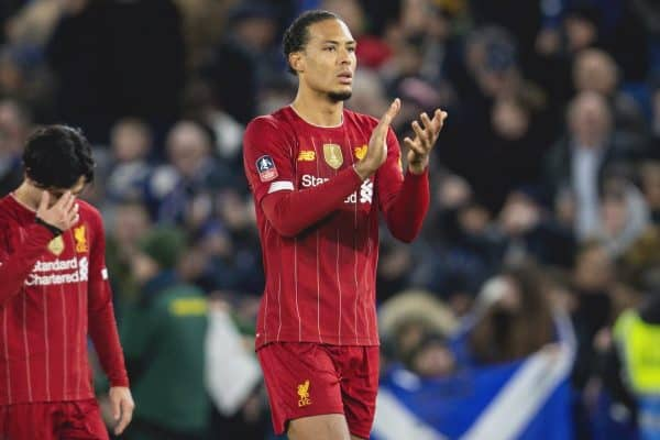 LONDON, ENGLAND - Tuesday, March 3, 2020: Liverpool's Virgil van Dijk looks dejected after the FA Cup 5th Round match between Chelsea FC and Liverpool FC at Stamford Bridge. Chelsea won 2-0. (Pic by David Rawcliffe/Propaganda)