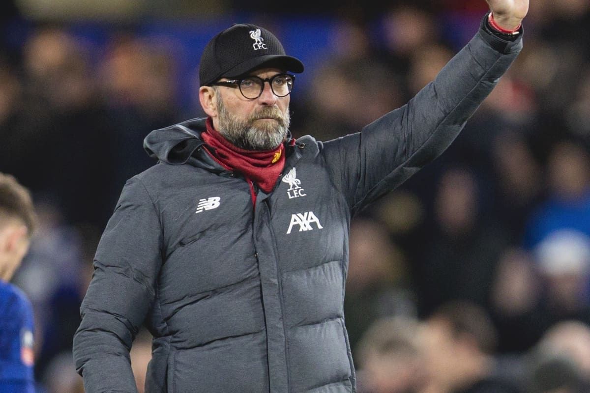 LONDON, ENGLAND - Tuesday, March 3, 2020: Liverpool's manager Jürgen Klopp waves goodbye to the FA Cup, again, after the FA Cup 5th Round match between Chelsea FC and Liverpool FC at Stamford Bridge. Chelsea won 2-0. (Pic by David Rawcliffe/Propaganda)