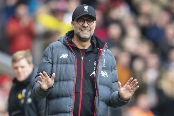 LIVERPOOL, ENGLAND - Saturday, March 7, 2020: Liverpool's manager Jürgen Klopp reacts during the FA Premier League match between Liverpool FC and AFC Bournemouth at Anfield. (Pic by David Rawcliffe/Propaganda)