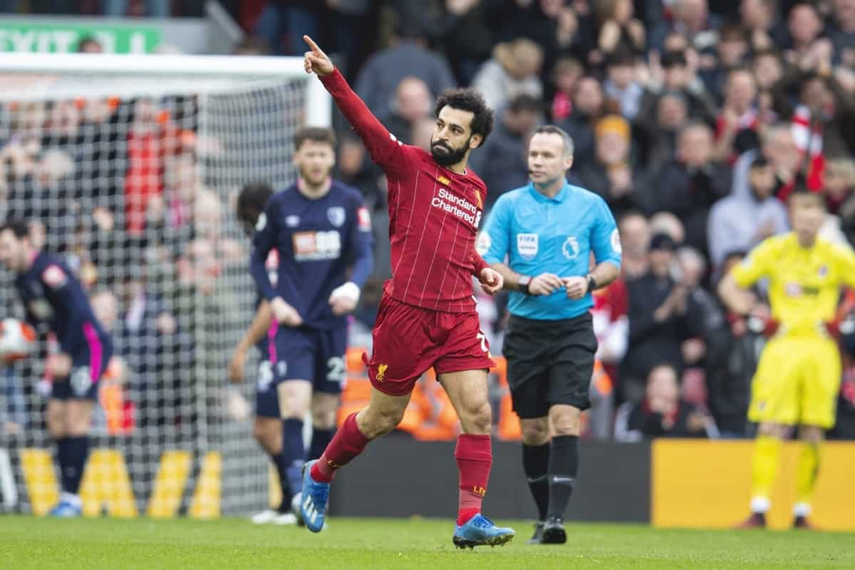 LIVERPOOL, ENGLAND - Saturday, March 7, 2020: Liverpool's Mohamed Salah celebrates scoring his side's first equalising goal during the FA Premier League match between Liverpool FC and AFC Bournemouth at Anfield. (Pic by David Rawcliffe/Propaganda)