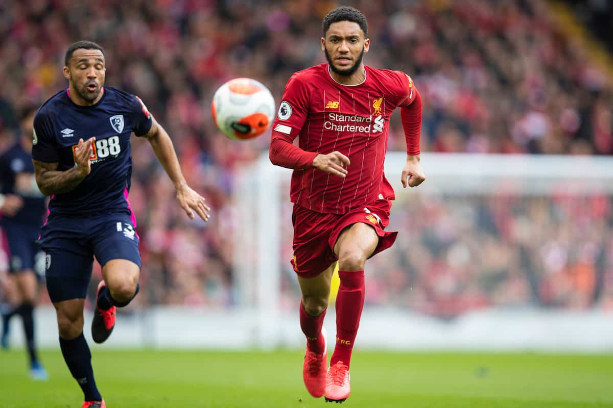LIVERPOOL, ENGLAND - Saturday, March 7, 2020: Liverpool's Joe Gomez during the FA Premier League match between Liverpool FC and AFC Bournemouth at Anfield. (Pic by David Rawcliffe/Propaganda)
