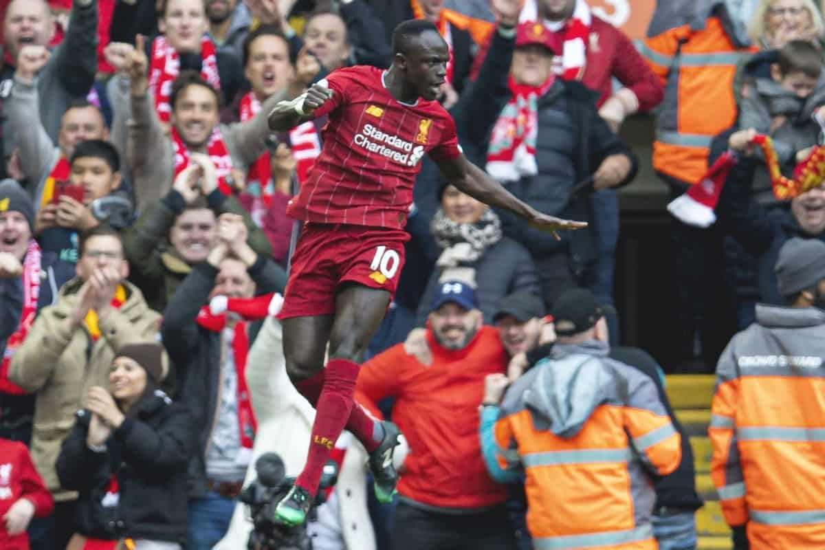 LIVERPOOL, ENGLAND - Saturday, March 7, 2020: Liverpool's Sadio Mané celebrates scoring the second goal during the FA Premier League match between Liverpool FC and AFC Bournemouth at Anfield. (Pic by David Rawcliffe/Propaganda)