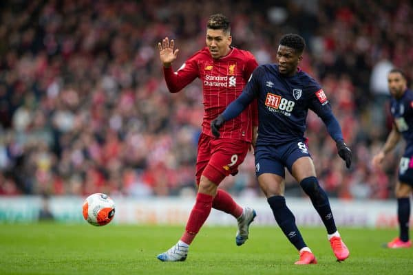 LIVERPOOL, ENGLAND - Saturday, March 7, 2020: Liverpool's Roberto Firmino (L) and AFC Bournemouth's Jefferson Lerma during the FA Premier League match between Liverpool FC and AFC Bournemouth at Anfield. (Pic by David Rawcliffe/Propaganda)