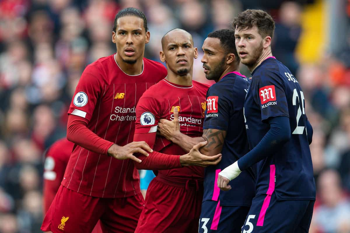 LIVERPOOL, ENGLAND - Saturday, March 7, 2020: Liverpool's Virgil van Dijk (L) and Fabio Henrique Tavares 'Fabinho' during the FA Premier League match between Liverpool FC and AFC Bournemouth at Anfield. (Pic by David Rawcliffe/Propaganda)