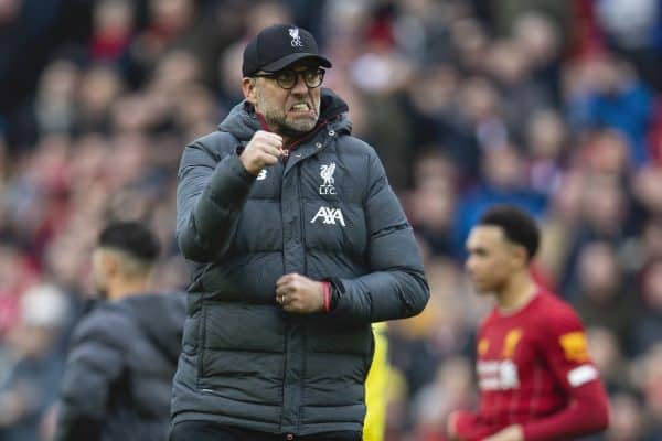LIVERPOOL, ENGLAND - Saturday, March 7, 2020: Liverpool's manager Jürgen Klopp celebrates after the FA Premier League match between Liverpool FC and AFC Bournemouth at Anfield. Liverpool won 2-1. (Pic by David Rawcliffe/Propaganda)