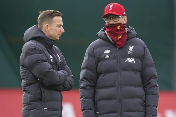 LIVERPOOL, ENGLAND - Tuesday, March 10, 2020: Liverpool's manager Jürgen Klopp (R) and first-team development coach Pepijn Lijnders during a training session at Melwood Training Ground ahead of the UEFA Champions League Round of 16 2nd Leg match between Liverpool FC and Club Atlético de Madrid. (Pic by David Rawcliffe/Propaganda)