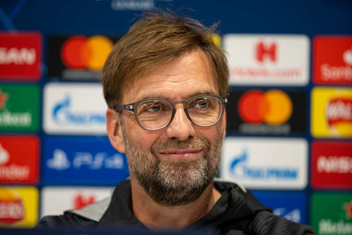 LIVERPOOL, ENGLAND - Tuesday, March 10, 2020: Liverpool's manager Jürgen Klopp during a press conference at Anfield ahead of the UEFA Champions League Round of 16 2nd Leg match between Liverpool FC and Club Atlético de Madrid. (Pic by David Rawcliffe/Propaganda)