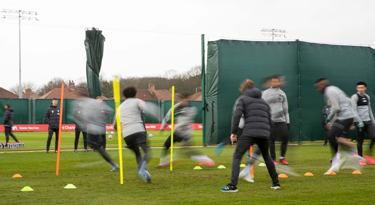 LIVERPOOL, ENGLAND - Tuesday, March 10, 2020: Liverpool players during a training session at Melwood Training Ground ahead of the UEFA Champions League Round of 16 2nd Leg match between Liverpool FC and Club Atlético de Madrid. (Pic by David Rawcliffe/Propaganda)