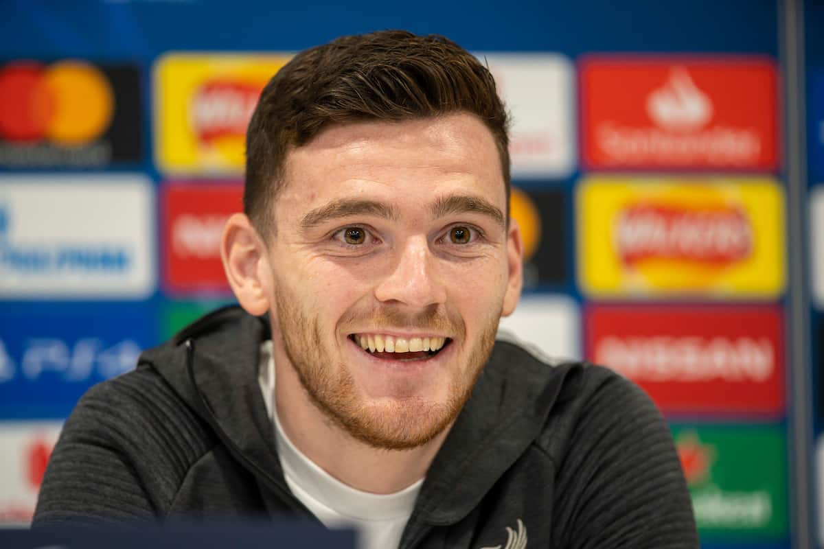 LIVERPOOL, ENGLAND - Tuesday, March 10, 2020: Liverpool's Andy Robertson during a press conference at Anfield ahead of the UEFA Champions League Round of 16 2nd Leg match between Liverpool FC and Club Atlético de Madrid. (Pic by David Rawcliffe/Propaganda)
