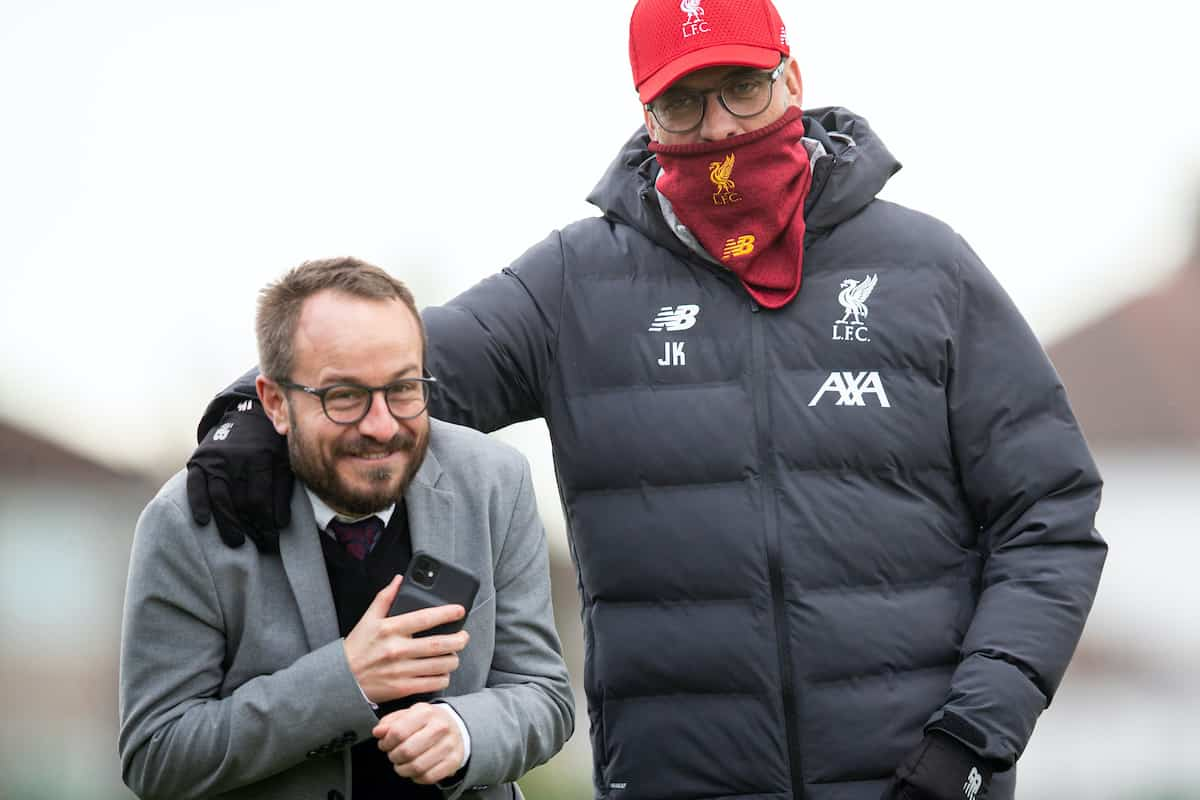 LIVERPOOL, ENGLAND - Tuesday, March 10, 2020: Liverpool's manager Jürgen Klopp playfully grapples with press officer Matt McCann during a training session at Melwood Training Ground ahead of the UEFA Champions League Round of 16 2nd Leg match between Liverpool FC and Club Atlético de Madrid. (Pic by David Rawcliffe/Propaganda)