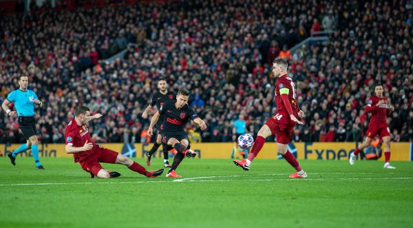 LIVERPOOL, ENGLAND - Wednesday, March 11, 2020: Liverpool's xxxx during the UEFA Champions League Round of 16 2nd Leg match between Liverpool FC and Club Atlético de Madrid at Anfield. (Pic by David Rawcliffe/Propaganda)