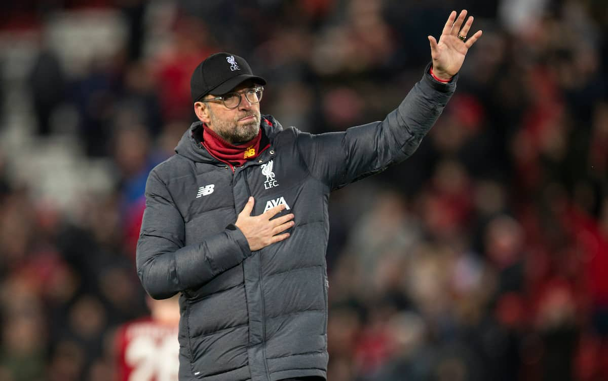 LIVERPOOL, ENGLAND - Wednesday, March 11, 2020: Liverpool's manager Jürgen Klopp waves goodbye to the Champions League after the UEFA Champions League Round of 16 2nd Leg match between Liverpool FC and Club Atlético de Madrid at Anfield. Club Atlético de Madrid won 3-2 (4-2 on aggregate). (Pic by David Rawcliffe/Propaganda)