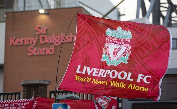 LIVERPOOL, ENGLAND - Wednesday, March 11, 2020: A Liverpool flag flutters in the wind before the UEFA Champions League Round of 16 2nd Leg match between Liverpool FC and Club Atlético de Madrid at Anfield. (Pic by David Rawcliffe/Propaganda)