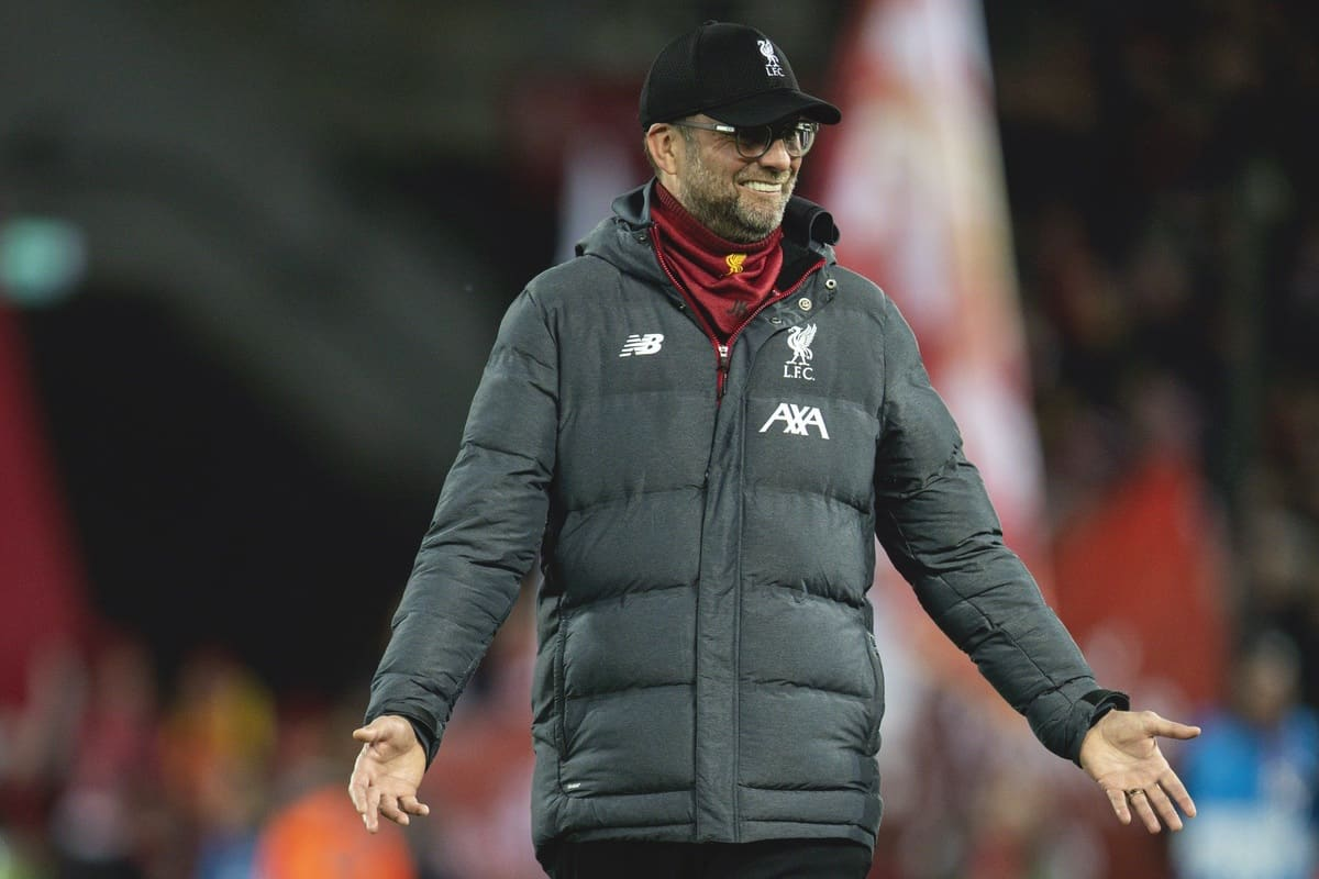 LIVERPOOL, ENGLAND - Wednesday, March 11, 2020: Liverpool's manager Jürgen Klopp before the UEFA Champions League Round of 16 2nd Leg match between Liverpool FC and Club Atlético de Madrid at Anfield. (Pic by David Rawcliffe/Propaganda)