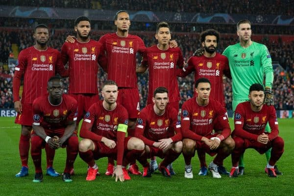 LIVERPOOL, ENGLAND - Wednesday, March 11, 2020: Liverpool's players line-up for a team group photograph before the UEFA Champions League Round of 16 2nd Leg match between Liverpool FC and Club Atlético de Madrid at Anfield. Back row L-R: Georginio Wijnaldum, Joe Gomez, Virgil van Dijk, Roberto Firmino, Mohamed Salah, goalkeeper Adrián San Miguel del Castillo. Front row L-R: Sadio Mané, captain Jordan Henderson, Andy Robertson, Trent Alexander-Arnold, Alex Oxlade-Chamberlain. (Pic by David Rawcliffe/Propaganda)