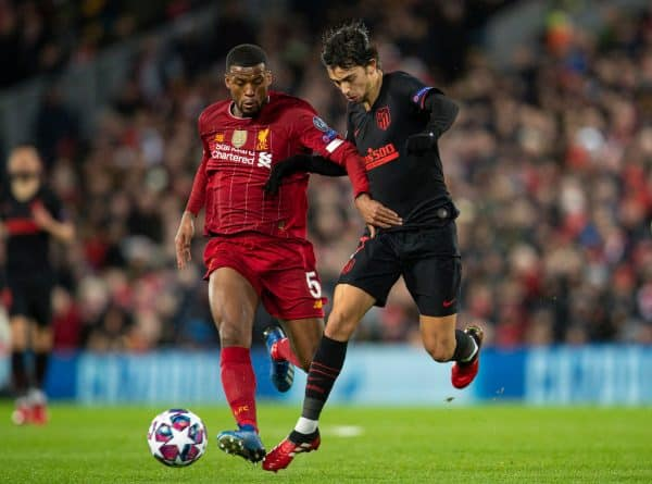 LIVERPOOL, ENGLAND - Wednesday, March 11, 2020: Liverpool's Georginio Wijnaldum during the UEFA Champions League Round of 16 2nd Leg match between Liverpool FC and Club Atlético de Madrid at Anfield. (Pic by David Rawcliffe/Propaganda)