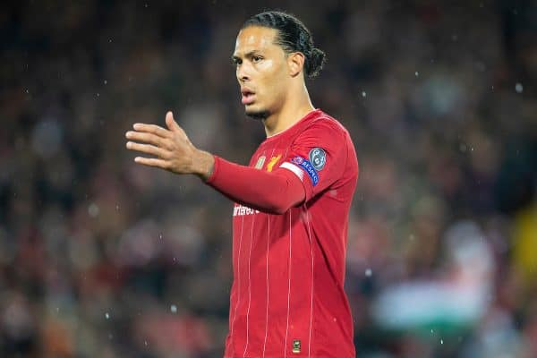 LIVERPOOL, ENGLAND - Wednesday, March 11, 2020: Liverpool's Virgil van Dijk during the UEFA Champions League Round of 16 2nd Leg match between Liverpool FC and Club Atlético de Madrid at Anfield. (Pic by David Rawcliffe/Propaganda)