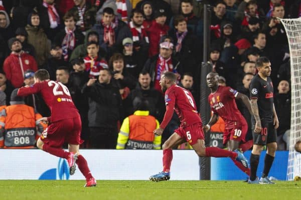 LIVERPOOL, ENGLAND - Wednesday, March 11, 2020: Liverpool's Georginio Wijnaldum celebrates scoring the first goal during the UEFA Champions League Round of 16 2nd Leg match between Liverpool FC and Club Atlético de Madrid at Anfield. (Pic by David Rawcliffe/Propaganda)