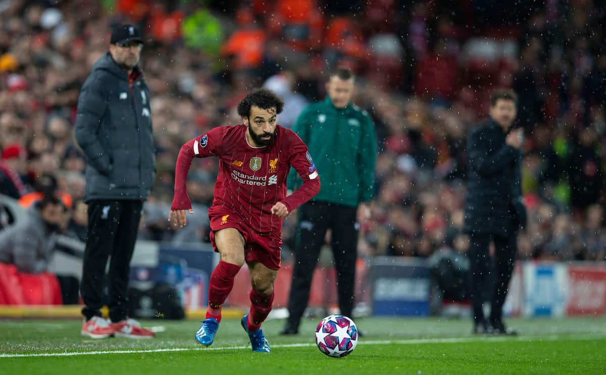 LIVERPOOL, ENGLAND - Wednesday, March 11, 2020: Liverpool's Mohamed Salah during the UEFA Champions League Round of 16 2nd Leg match between Liverpool FC and Club Atlético de Madrid at Anfield. (Pic by David Rawcliffe/Propaganda)