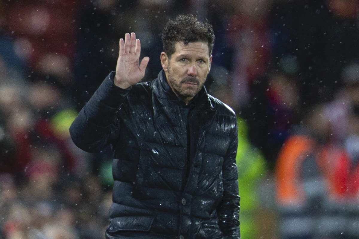 LIVERPOOL, ENGLAND - Wednesday, March 11, 2020: Club Atlético de Madrid's head coach Diego Simeone during the UEFA Champions League Round of 16 2nd Leg match between Liverpool FC and Club Atlético de Madrid at Anfield. (Pic by David Rawcliffe/Propaganda)