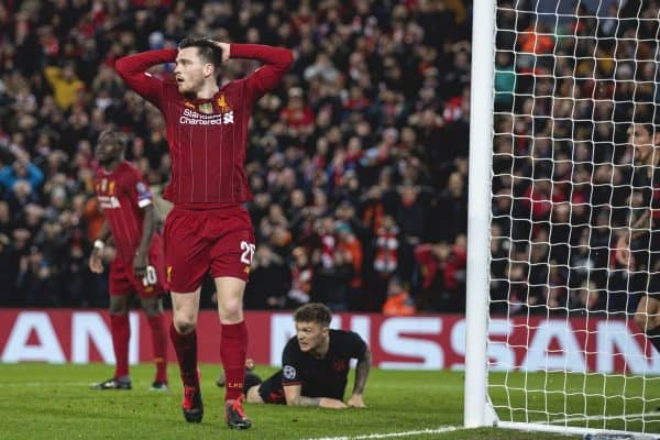 LIVERPOOL, ENGLAND - Wednesday, March 11, 2020: Liverpool's Andy Robertson looks dejected during the UEFA Champions League Round of 16 2nd Leg match between Liverpool FC and Club Atlético de Madrid at Anfield. (Pic by David Rawcliffe/Propaganda)