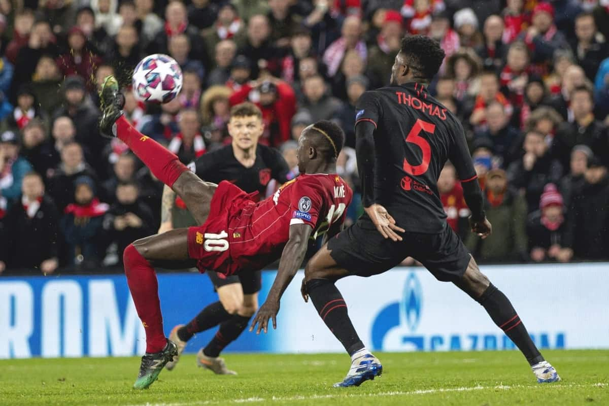 LIVERPOOL, ENGLAND - Wednesday, March 11, 2020: Liverpool's Sadio Mané shoots during the UEFA Champions League Round of 16 2nd Leg match between Liverpool FC and Club Atlético de Madrid at Anfield. (Pic by David Rawcliffe/Propaganda)