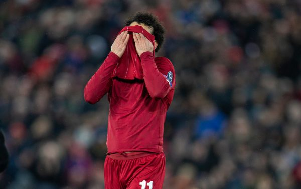 LIVERPOOL, ENGLAND - Wednesday, March 11, 2020: Liverpool's Mohamed Salah looks dejected during the UEFA Champions League Round of 16 2nd Leg match between Liverpool FC and Club Atlético de Madrid at Anfield. (Pic by David Rawcliffe/Propaganda)