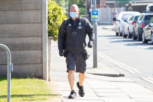 LIVERPOOL, ENGLAND - Wednesday, May 20, 2020: A member of Liverpool's staff arrives at the club's Melwood Training Ground as the players return to training ahead of a planned restart of the Premier League during the Coronavirus pandemic. (Pic by David Rawcliffe/Propaganda)