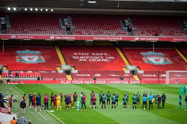 LIVERPOOL, ENGLAND - Sunday, July 5, 2020: Aston Villa players give Liverpool players a guard of honour before the FA Premier League match between Liverpool FC and Aston Villa FC at Anfield. The game was played behind closed doors due to the UK government's social distancing laws during the Coronavirus COVID-19 Pandemic. (Pic by David Rawcliffe/Propaganda)