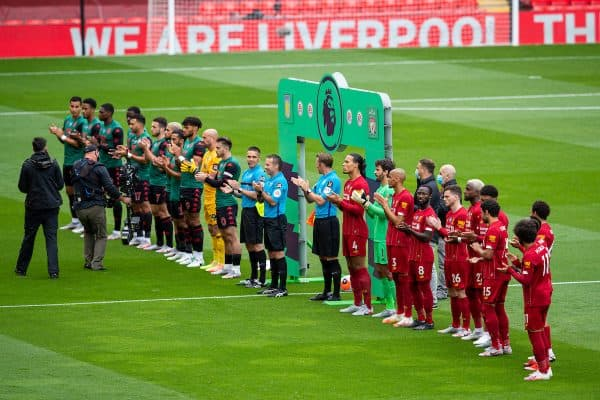 LIVERPOOL, ENGLAND - Sunday, July 5, 2020: Liverpool and Aston Villa players applaud before the FA Premier League match between Liverpool FC and Aston Villa FC at Anfield. The game was played behind closed doors due to the UK government's social distancing laws during the Coronavirus COVID-19 Pandemic. (Pic by David Rawcliffe/Propaganda)