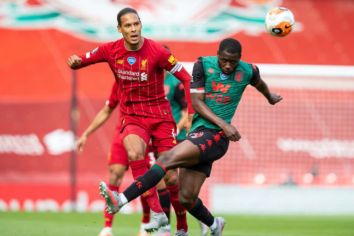 LIVERPOOL, ENGLAND - Sunday, July 5, 2020: Liverpool's Virgil van Dijk during the FA Premier League match between Liverpool FC and Aston Villa FC at Anfield. The game was played behind closed doors due to the UK government's social distancing laws during the Coronavirus COVID-19 Pandemic. (Pic by David Rawcliffe/Propaganda)