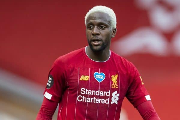 LIVERPOOL, ENGLAND - Sunday, July 5, 2020: Liverpool's Divock Origi, with dyed blonde hair, during the FA Premier League match between Liverpool FC and Aston Villa FC at Anfield. The game was played behind closed doors due to the UK government's social distancing laws during the Coronavirus COVID-19 Pandemic. (Pic by David Rawcliffe/Propaganda)