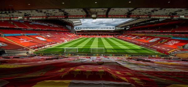 LIVERPOOL, ENGLAND - Sunday, July 5, 2020: Liverpool's A general view of Anfield Stadium before the FA Premier League match between Liverpool FC and Aston Villa FC at Anfield. The game was played behind closed doors due to the UK government's social distancing laws during the Coronavirus COVID-19 Pandemic. (Pic by David Rawcliffe/Propaganda)
