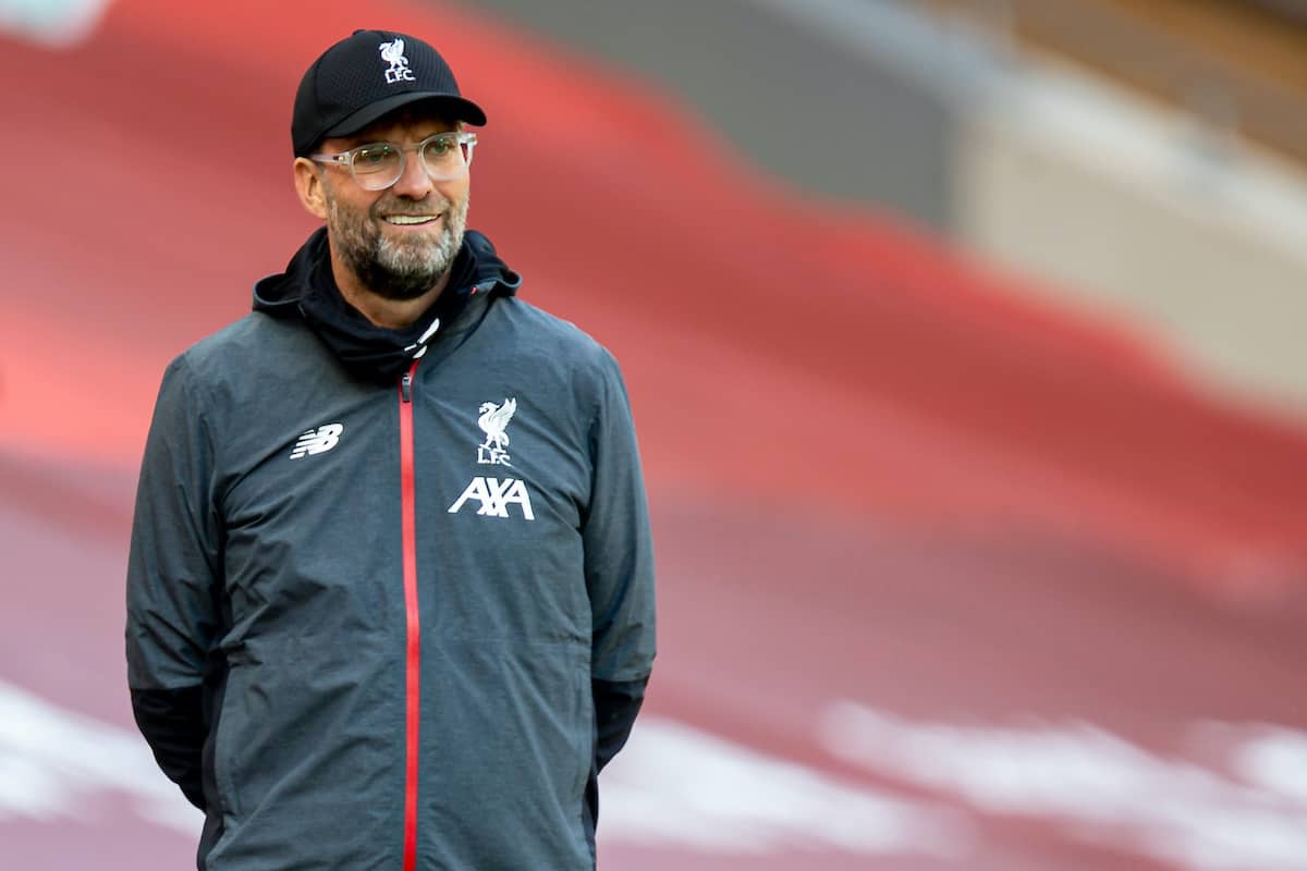 LIVERPOOL, ENGLAND - Sunday, July 5, 2020: Liverpool's manager Jürgen Klopp during the FA Premier League match between Liverpool FC and Aston Villa FC at Anfield. The game was played behind closed doors due to the UK government's social distancing laws during the Coronavirus COVID-19 Pandemic. (Pic by David Rawcliffe/Propaganda)