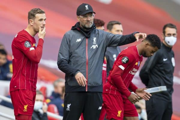 Liverpool's manager Jürgen Klopp prepares to bring on substitute Jordan Henderson during the FA Premier League match between Liverpool FC and Aston Villa FC at Anfield. The game was played behind closed doors due to the UK government's social distancing laws during the Coronavirus COVID-19 Pandemic. (Pic by David Rawcliffe/Propaganda)