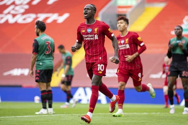 Liverpool's Sadio Mane during the FA Premier League match between Liverpool FC and Aston Villa FC at Anfield. The game was played behind closed doors due to the UK government's social distancing laws during the Coronavirus COVID-19 Pandemic. (Pic by David Rawcliffe/Propaganda)