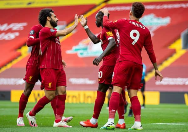 LIVERPOOL, ENGLAND - Sunday, July 5, 2020: Liverpool's Sadio Mané (C) celebrates scoring the first goal with team-mates Mohamed Salah (L) and Roberto Firmino (R) during the FA Premier League match between Liverpool FC and Aston Villa FC at Anfield. The game was played behind closed doors due to the UK government's social distancing laws during the Coronavirus COVID-19 Pandemic. (Pic by David Rawcliffe/Propaganda)