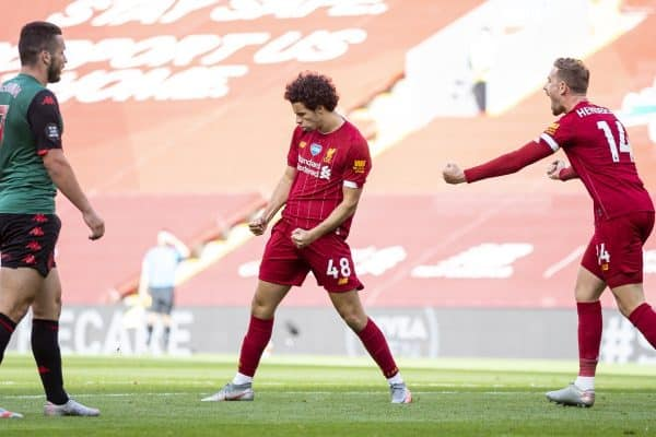 LIVERPOOL, ENGLAND - Sunday, July 5, 2020: Liverpool's Curtis Jones celebrates scoring the second goal during the FA Premier League match between Liverpool FC and Aston Villa FC at Anfield. The game was played behind closed doors due to the UK government's social distancing laws during the Coronavirus COVID-19 Pandemic. (Pic by David Rawcliffe/Propaganda)