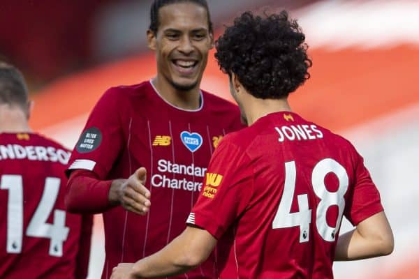 LIVERPOOL, ENGLAND - Sunday, July 5, 2020: Liverpool's Curtis Jones (#48) celebrates scoring the second goal with team-mate Virgil van Dijk during the FA Premier League match between Liverpool FC and Aston Villa FC at Anfield. The game was played behind closed doors due to the UK government's social distancing laws during the Coronavirus COVID-19 Pandemic. (Pic by David Rawcliffe/Propaganda)