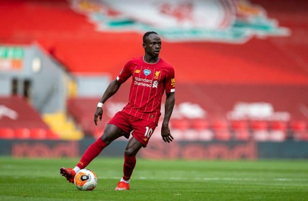 LIVERPOOL, ENGLAND - Sunday, July 5, 2020: Liverpool's Sadio Mané during the FA Premier League match between Liverpool FC and Aston Villa FC at Anfield. The game was played behind closed doors due to the UK government's social distancing laws during the Coronavirus COVID-19 Pandemic. (Pic by David Rawcliffe/Propaganda)