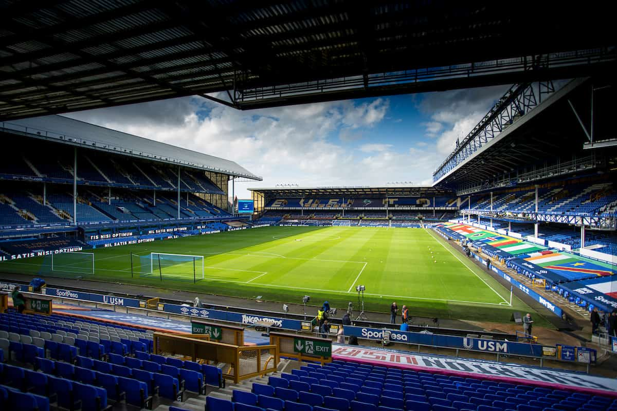 LIVERPOOL, ENGLAND - Sunday, June 21, 2019: A general view of the stadium before the FA Premier League match between Everton FC and Liverpool FC, the 236th Merseyside Derby, at Goodison Park. The game was played behind closed doors due to the UK government's social distancing laws during the Coronavirus COVID-19 Pandemic. (Pic by David Rawcliffe/Propaganda)
