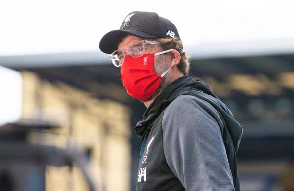 LIVERPOOL, ENGLAND - Sunday, June 21, 2019: Liverpool's manager Jürgen Klopp arrives at the stadium wearing a red face mask before the FA Premier League match between Everton FC and Liverpool FC, the 236th Merseyside Derby, at Goodison Park. The game was played behind closed doors due to the UK government's social distancing laws during the Coronavirus COVID-19 Pandemic. (Pic by David Rawcliffe/Propaganda)