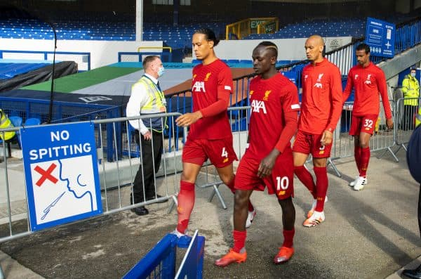 LIVERPOOL, ENGLAND - Sunday, June 21, 2019: Liverpool's Virgil van Dijk, Sadio Mané and Fabio Henrique Tavares 'Fabinho' walk out before the FA Premier League match between Everton FC and Liverpool FC, the 236th Merseyside Derby, at Goodison Park. The game was played behind closed doors due to the UK government's social distancing laws during the Coronavirus COVID-19 Pandemic. (Pic by David Rawcliffe/Propaganda)