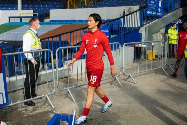 LIVERPOOL, ENGLAND - Sunday, June 21, 2019: Liverpool's Takumi Minamino walks out before the FA Premier League match between Everton FC and Liverpool FC, the 236th Merseyside Derby, at Goodison Park. The game was played behind closed doors due to the UK government's social distancing laws during the Coronavirus COVID-19 Pandemic. (Pic by David Rawcliffe/Propaganda)