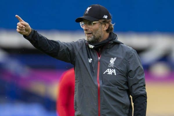 LIVERPOOL, ENGLAND - Sunday, June 21, 2019: Liverpool's manager Jürgen Klopp during the pre-match warm-up before the FA Premier League match between Everton FC and Liverpool FC, the 236th Merseyside Derby, at Goodison Park. The game was played behind closed doors due to the UK government's social distancing laws during the Coronavirus COVID-19 Pandemic. (Pic by David Rawcliffe/Propaganda)