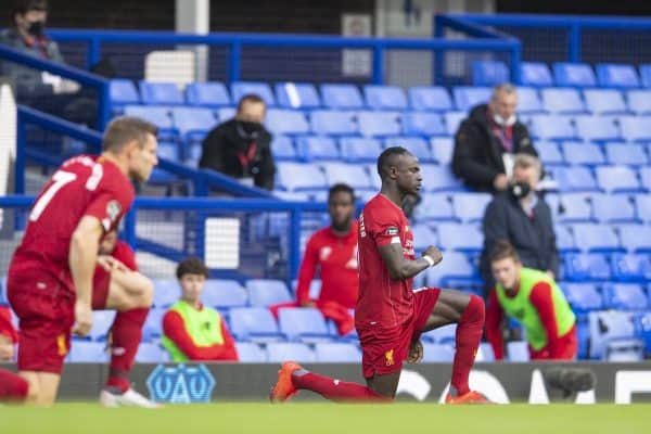 LIVERPOOL, ENGLAND - Sunday, June 21, 2019: Liverpool's Sadio Mané knees down to support the Black Lives Matter movement during the FA Premier League match between Everton FC and Liverpool FC, the 236th Merseyside Derby, at Goodison Park. The game was played behind closed doors due to the UK government's social distancing laws during the Coronavirus COVID-19 Pandemic. (Pic by David Rawcliffe/Propaganda)
