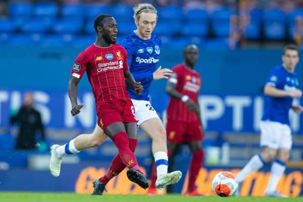 LIVERPOOL, ENGLAND - Sunday, June 21, 2019: Liverpool's Naby Keita (L) and Everton's Tom Davies during the FA Premier League match between Everton FC and Liverpool FC, the 236th Merseyside Derby, at Goodison Park. The game was played behind closed doors due to the UK government's social distancing laws during the Coronavirus COVID-19 Pandemic. (Pic by David Rawcliffe/Propaganda)